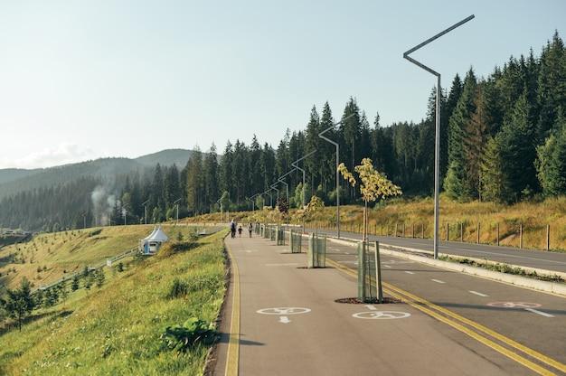 山と針葉樹林の自転車専用車線と歩道の写真