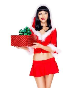 아름다운 눈 처녀의 사진 선물-흰색에 고립 된 크리스마스 새 해 상자를 보유