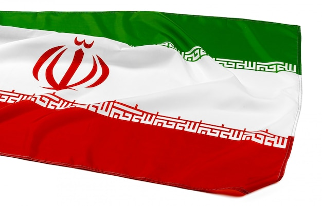 Фотография ткани флага ирана крупным планом