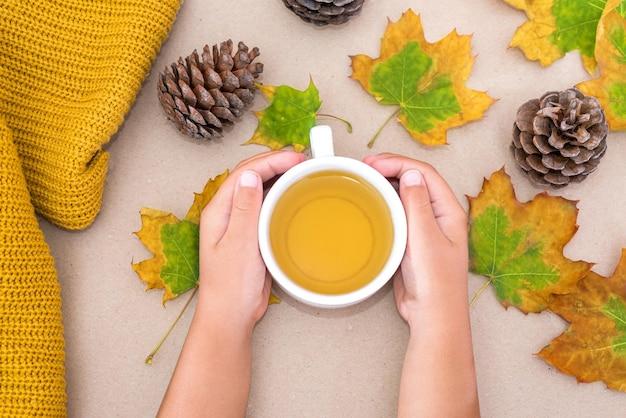 孤立した薄茶色の背景に黄色の秋のカエデの葉とお茶のカップの手の写真