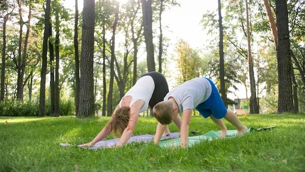 公園のヨガ教室で生徒に教えている中年女性の写真。森の芝生でフィットネス、瞑想、ヨガを練習している10代の少年とのwoamn Premium写真