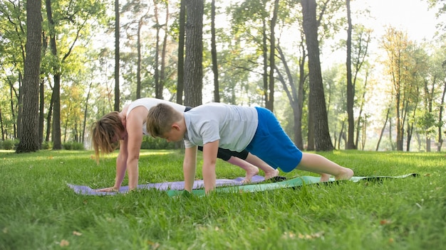 공원 잔디에서 요가 아사나를 연습하는 10대 소년 아들과 어머니의 사진. 숲에서 피트니스 및 스포츠 outtodr을 하는 가족
