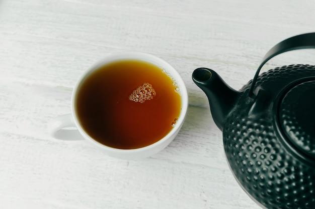 Фотография вкусной свежей чашки черного чая на белом деревянном столе
