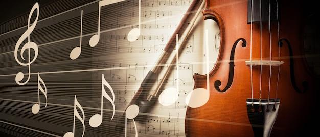 바이올린과 음표 사진