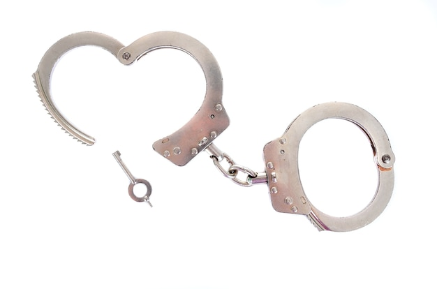 Photo of a pair of handcuffs isolated on a white background