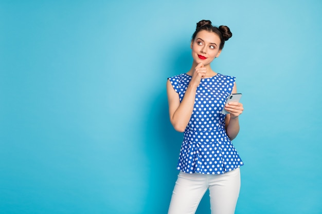 Photo of pretty funny lady hold telephone hands look up