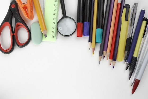 Photo of school supplies and place for text on white background