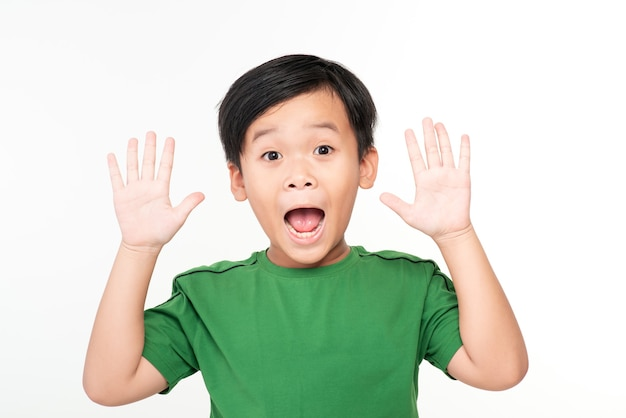 Photo of shocked little boy child hand up standing isolated over white. looking camera.
