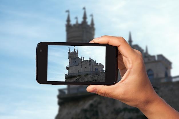 Фотосессия на смартфон в туристическом путешествии. крым. россия