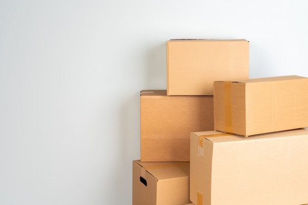 Photo of a stack of moving boxes