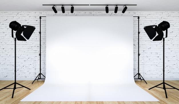 Photo studio lighting set up with white backdrop