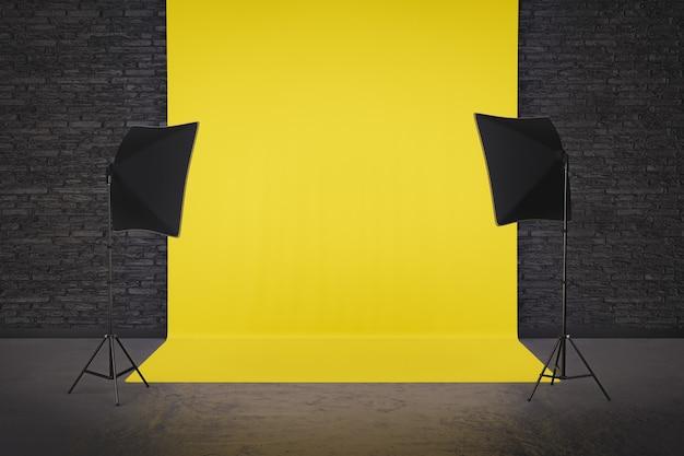 Комната фотостудии с желтым фоном