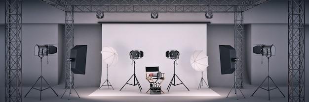 영화 개념 감독 의자와 영화 클래퍼 3d 렌더링이 있는 사진 스튜디오