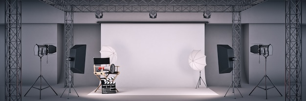 Photo studio with cinema concept directors chair and movie clapper 3d rendering