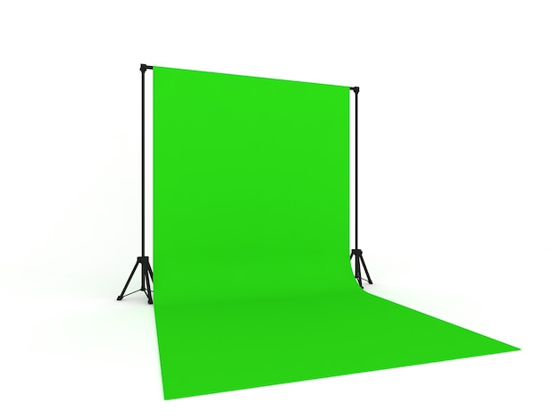 Photo studio with green screen  isolated
