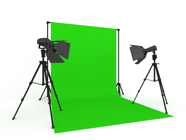 Photo studio with green screen and light equipment isolated