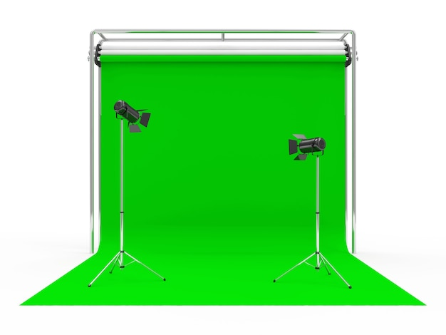 Photo studio with green screen and light equipment
