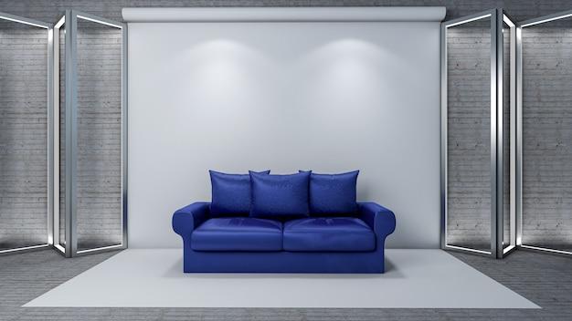 인테리어 거실을위한 현대 소파가있는 사진 스튜디오