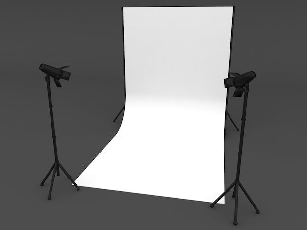 Photo studio with white screen a isolated on grey