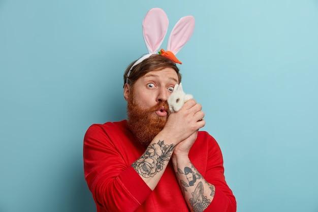 La foto di un uomo rosso sorpreso tiene un piccolo animale vicino al viso, gioca con il coniglio bianco, indossa orecchie da coniglio, si prepara per la festa in costume alla vigilia di pasqua, posa contro il muro blu. vacanze di primavera