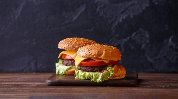 Photo of two fresh hamburgers