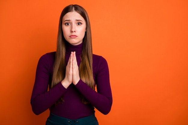 Photo of upset frustrated girl pleading wait for lucky dream gift present surprise wear violet winter jumper isolated over bright shine color background