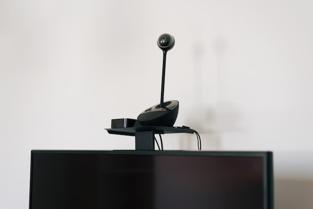 Photo of video camera for online meetings webinar and others.