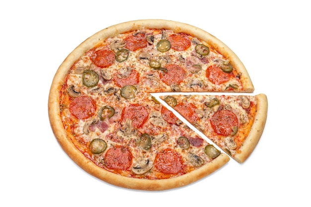 Photo of a whole italian pizza and a cut slice for use in advertising a pizzeria restaurant menu copy space for promo text
