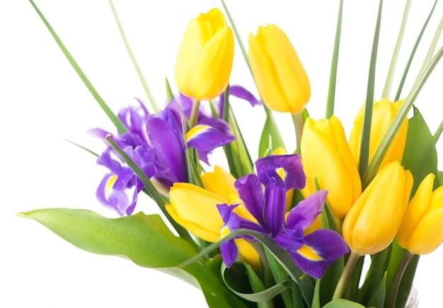 Фото со свежими весенними цветами для любого праздничного оформления. желтые тюльпаны и фиолетовые ирисы в вазе на бежевом фоне, крупным планом