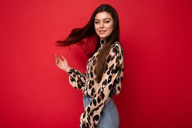 Photo of young positive happy beautiful fashionable sexy brunette woman wearing stylish leopard