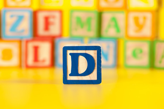 Photograph of colorful wooden block letter d