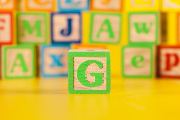 Photograph of colorful wooden block letter g