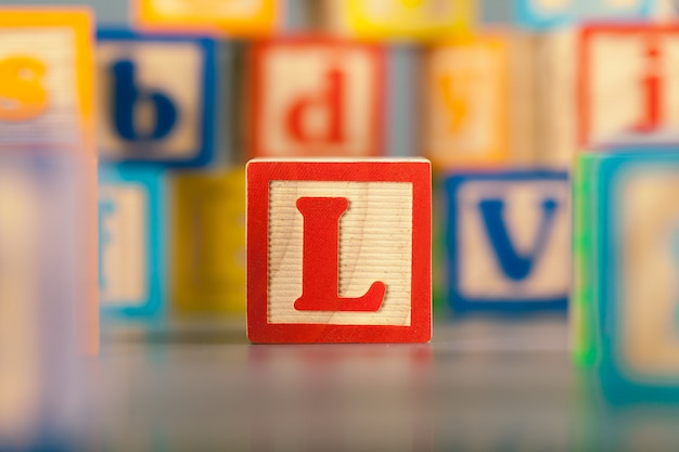 Photograph of colorful wooden block letter l