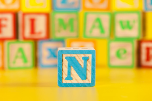 Photograph of colorful wooden block letter n