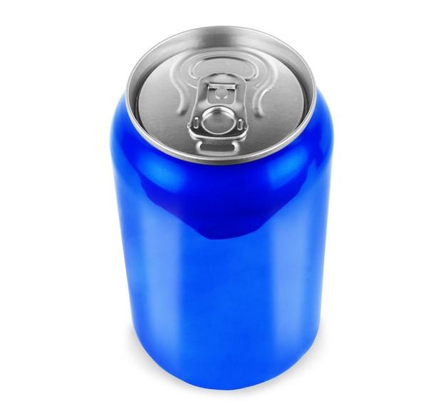 흰색 배경에 그림자가 있는 빈 파란색 알루미늄 소다 또는 알코올 음료 사진