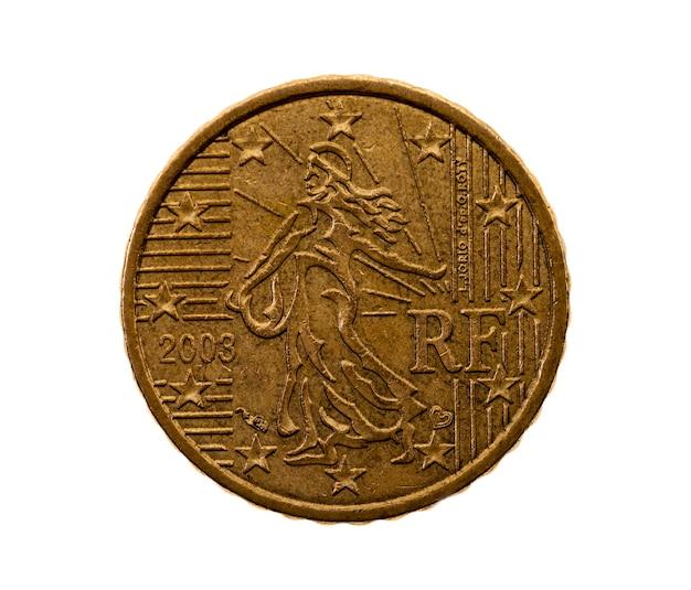 흰색 동전 유로 50 센트에 근접 촬영