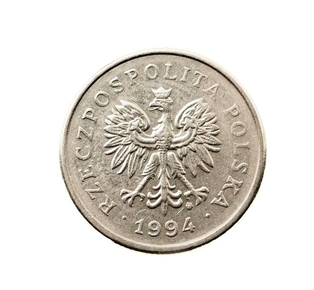 白いコイン、ポーランドのズウォティの写真のクローズアップ