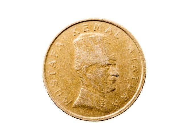 흰색 동전, 터키 리라에 근접 촬영
