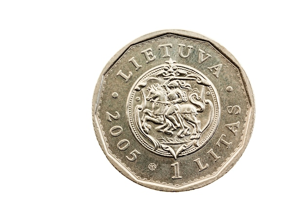 Photographed close up and on a white one lithuanian litas