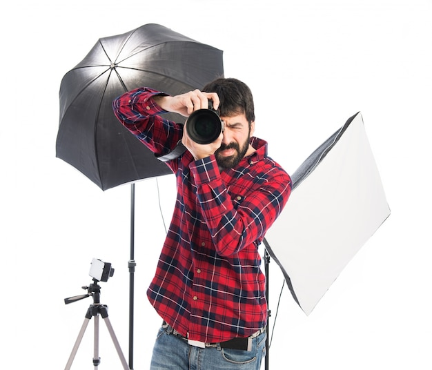 Photographer in his studio