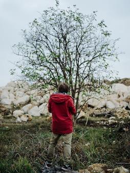木の石の近くの写真家は新鮮な空気の自然を風景します
