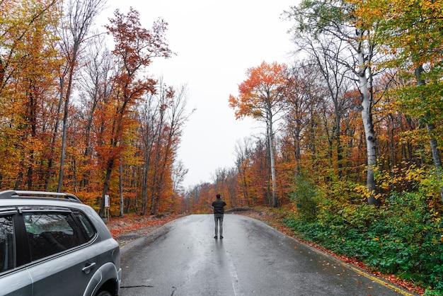 Фотограф на мокрой дороге, проходящей через красочный осенний лес