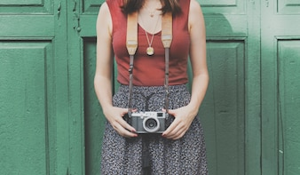 Photographer Passion Recreation Hobby Travel Woman Concept