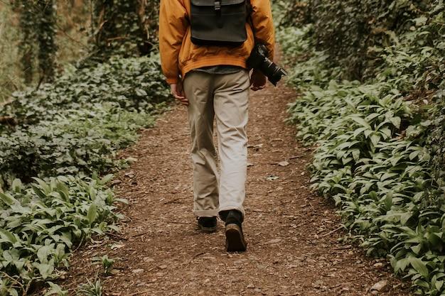 Fotografo che cammina nel retrovisore all'aperto del bosco
