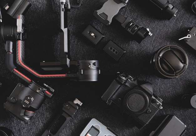Photographer work station, gimbal stabilizers and camera accessory