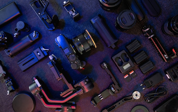 Photographer work station gimbal stabilizers and camera accessory