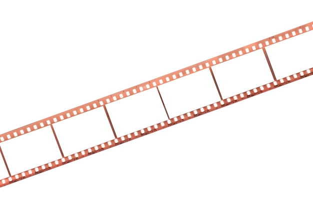 Photographic film with empty frames on white surface