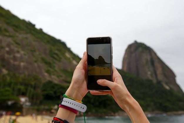 Фотосъемка горы сахарная голова на смартфон, рио-де-жанейро