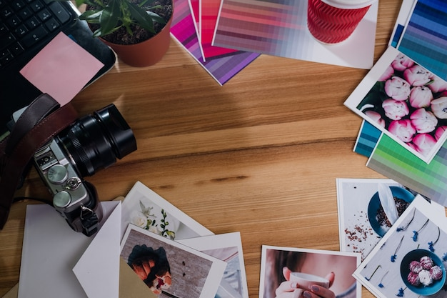Photography hobby leisure art creativity. photos shots camera on wooden background. negative space concept