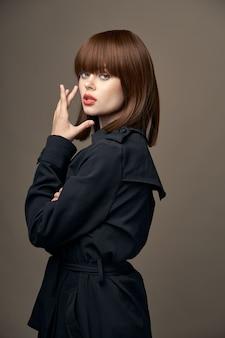 Photography studio sensual brunette light skin suit outerwear